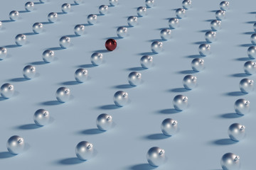 line of shiny christmas balls repeating with interrupting red ball