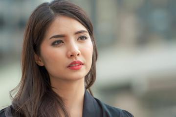 Portrait of Asian woman face, close up.