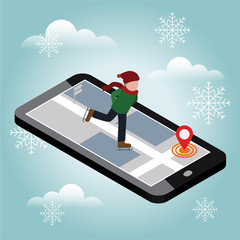 Isometric boy skating. Winter sport. Mobile navigation. Recreation lifestyle, activity speed