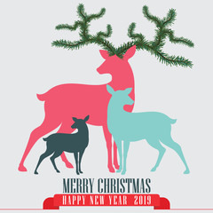 White background with Reindeer family for christmas