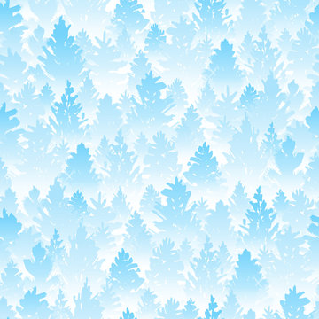 Seamless pattern with winter coniferous forest