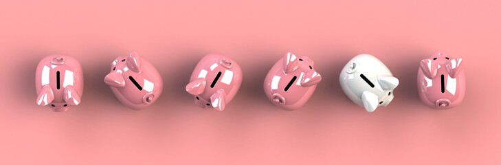 Top view piggy bank isolated on pink background, Finance concept, 3d rendering