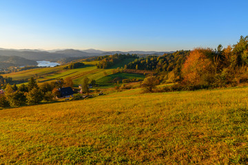 Foto op Plexiglas Panoramafoto s Polanczyk, Bieszczady mountains, Poland - views during sunrise on Solina Lake from hill near Polanczyk town (south-east region in Poland)