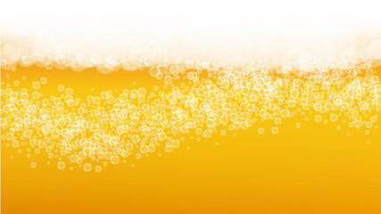 Beer background. Craft lager splash. Oktoberfest foam. Fresh pint of ale with realistic white bubbles. Cool liquid drink for pab menu concept. Gold bottle with beer background.