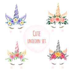 Set of Watercolor cute unicorn flowers