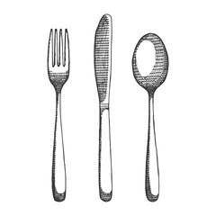 cutlery fork spoon and knife sketch. isolated drawing vector illustration