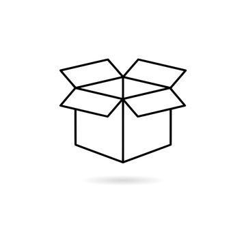 Black Open box icon or logo