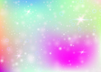 Holographic background with rainbow mesh. Cute universe banner in princess colors. Fantasy gradient backdrop with hologram. Holographic magic background with fairy sparkles, stars and blurs.