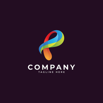 Abstract colorful gradient ribbon shape and letter p logo