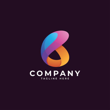 Abstract colorful gradient shape and logotype letter b logo