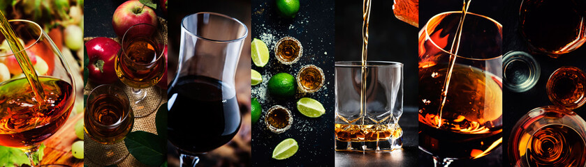 Photo collage, strong alcoholic drinks: cognac, vinsky and brandy, tequila and vodka, grappa, liquor. Close-up.