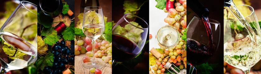 Red and white wine, alcohol collection in glasses. Wine tasting. Rustic style. Photo collage
