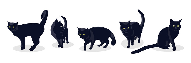 Black cat in different poses, isolated on white background. Set of silhouettes of a black cat