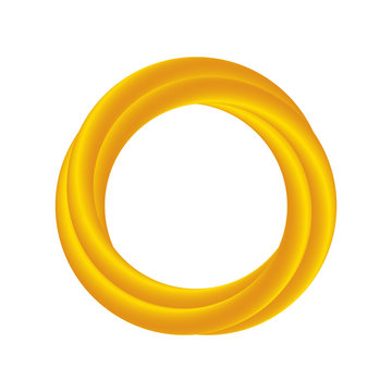 Abstract thin triple golden ring frame on white background