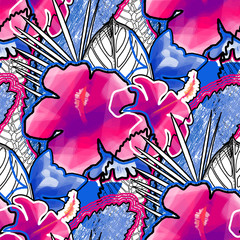 Vibrant seamless pattern of vivid exotic leaves and flowers