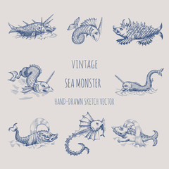 Mythological vintage sea monster. Fragment of old pirate map. Hand drawn vector sketch.
