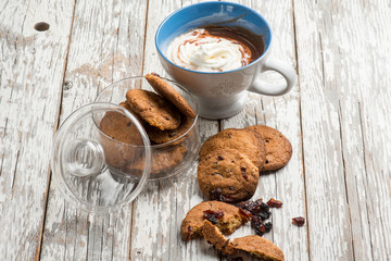 hot chocolate with whipped cream and blueberry cookies