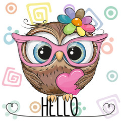Wall Murals Owls cartoon Cute Owl in a pink glasses with heart