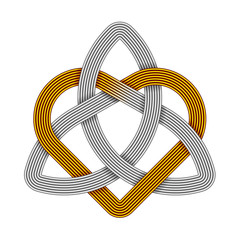 Triquetra with heart made of metal wires. Trinity love symbol. Vector illustration.