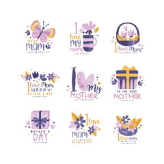 Best Mom logo design set, Happy Mothers Day creative labels for banner, poster, greeting card, shirt, hand drawn vector Illustration