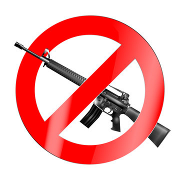 The sign of the ban, there is no war with the American M16 automatic rifle. Isolated object.