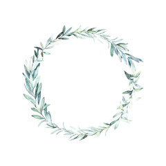 Watercolor wedding wreath with olive and eucalyptus branch. Botanical hand drawn illustration. Rustic design.