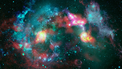 Colored nebula in the universe. Elements of this image furnished by NASA.