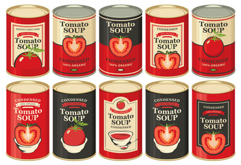 Vector set of tin cans with various labels for condensed tomato soup with images of tomatoes and inscriptions