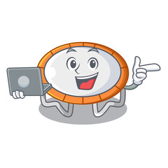 With laptop trampoline jumping shape cartoon realistic icon