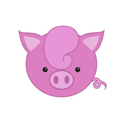 Funny face of a pink piglet. Vector illustration. Icon, symbol of the year.