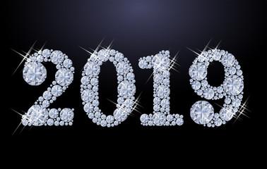 Diamond Happy New 2019 Year, vector illustration