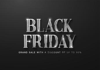 Black Friday Sale. Banner, poster, logo silver color on dark background.