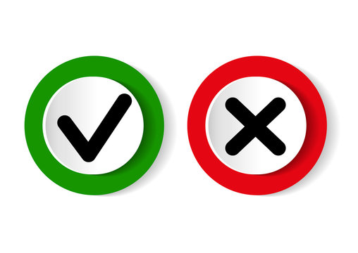 Green tick symbol and red cross sign in circle. Icons for evaluation quiz.Vector illustration.
