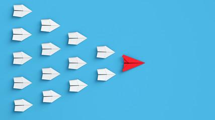 Papierflieger in Formation als Anführer und Team Konzept