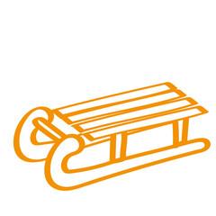 Handgezeichneter Schlitten in orange