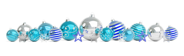 Blue and white christmas baubles isolated 3D rendering
