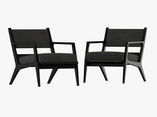 Two gray armchair 3d rendering