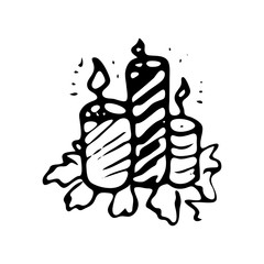 Hand drawn candles doodle. Sketch winter icon. Decoration element. Isolated on white background. Vector illustration
