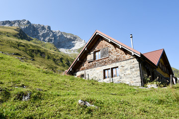 Chalet at Furenalp over Engelberg on the Swiss alps