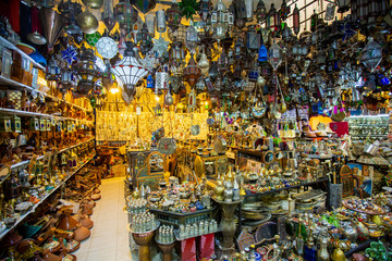 Handmade accessories and colourful beads jewelry at store in the Medina of Marrakech, Morocco.