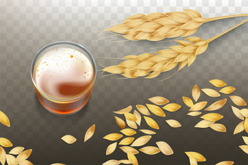 Craft beer or whiskey in glass beaker with barley or wheat ears and grains scattering around realistic vector isolated on transparent background. Elite alcohol drink from natural material illustration
