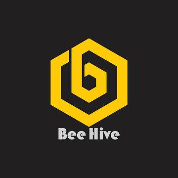 letter b bee hive hexagon logo vector
