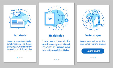 Medical services onboarding mobile app page screen with linear c