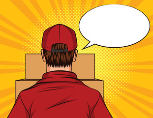 Vector color pop art style illustration of a man standing with a box in his hands. Deliveryman rear view. Delivery worker with cardboard boxes in front of him. Male delivery worker in uniform.