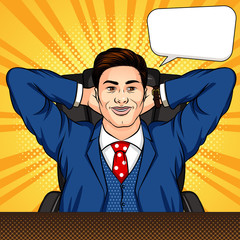 Vector colored pop art comic book style illustration of a man sitting in an office. A successful businessman is resting at a desk. Smiling worker with arms crossed behind head. Boss relaxed at work