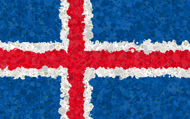 Illustration of an Icelandic flag with a blossom motive