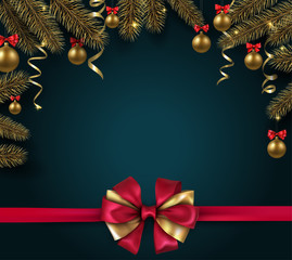 Christmas and New Year background with fir branches, gold Christmas balls and red bow.