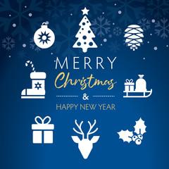 weihnachtliche Grußkarte im quadratischen Format mit weißen Icons auf blauen Hintergrund