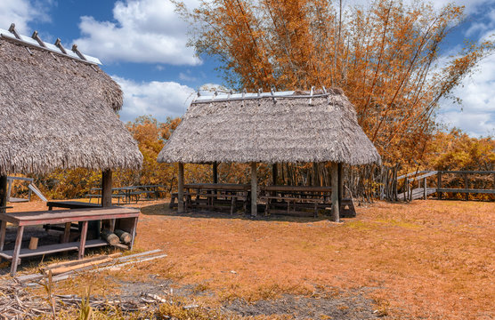 Huts on the Everglades National Park, Florida