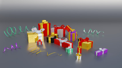 Some Multicolored gifts with few colored and shiny ribbons